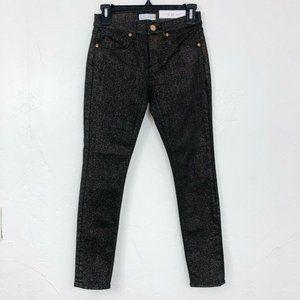 LOFT NEW Black & Gold Sparkle Skinny Jeans